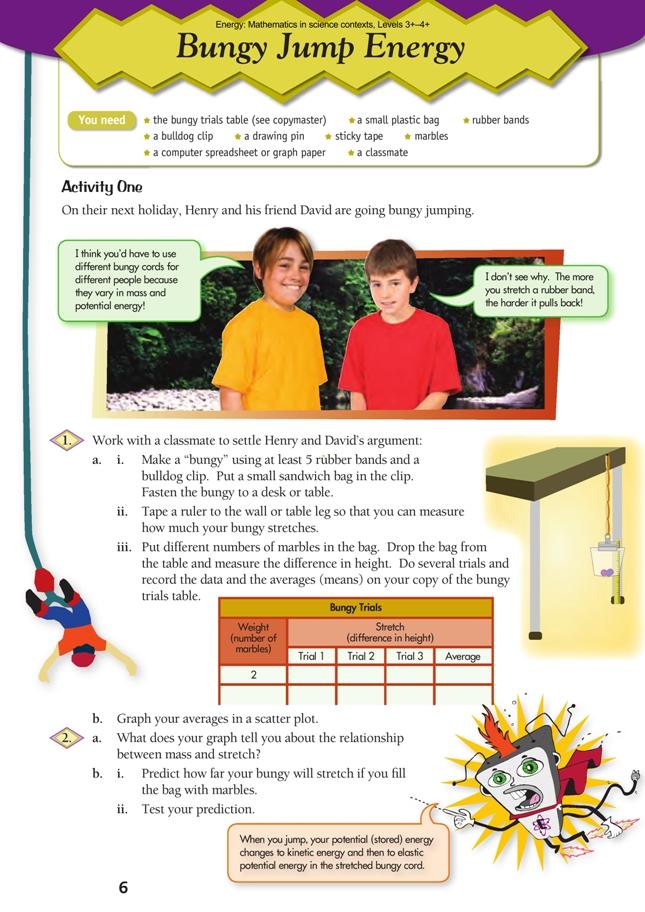 Bungy Jump Energy   NZ Maths